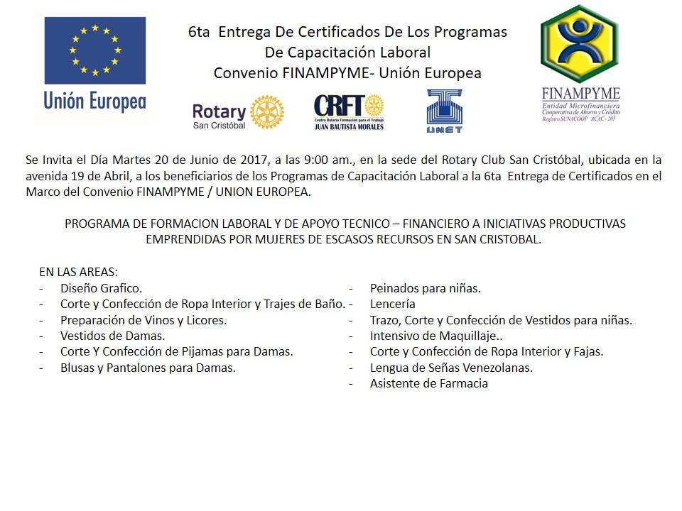 VI Entrega de Certificados convenio FINAMPYME-Unión Europea